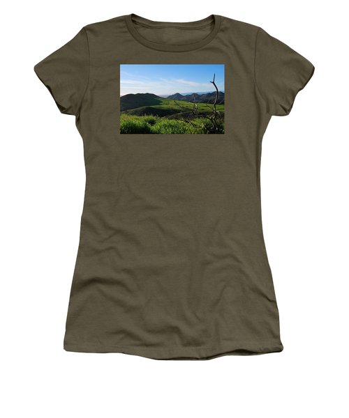 Women's T-Shirt (Athletic Fit) featuring the photograph Mountains To Valley View by Matt Harang