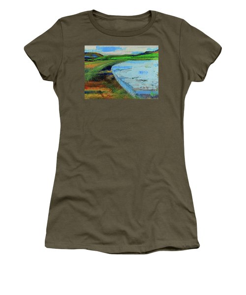 Women's T-Shirt (Athletic Fit) featuring the painting Mouth Of The Creek by Walter Fahmy