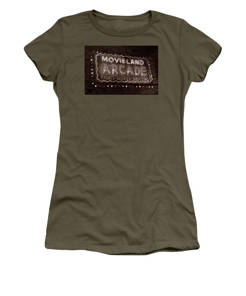 Women's T-Shirt (Junior Cut) featuring the photograph Movieland Arcade - Gritty by Stephen Stookey
