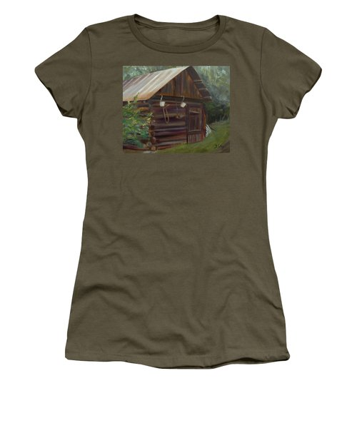 Women's T-Shirt (Junior Cut) featuring the painting Mulberry Farms Grainery by Donna Tuten