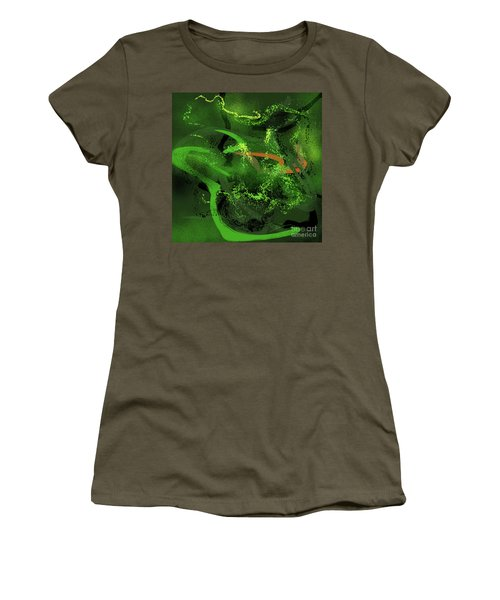 Women's T-Shirt (Junior Cut) featuring the painting Music In Green by Sgn