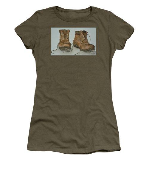 My Old Hiking Boots Women's T-Shirt (Junior Cut) by Annemeet Hasidi- van der Leij