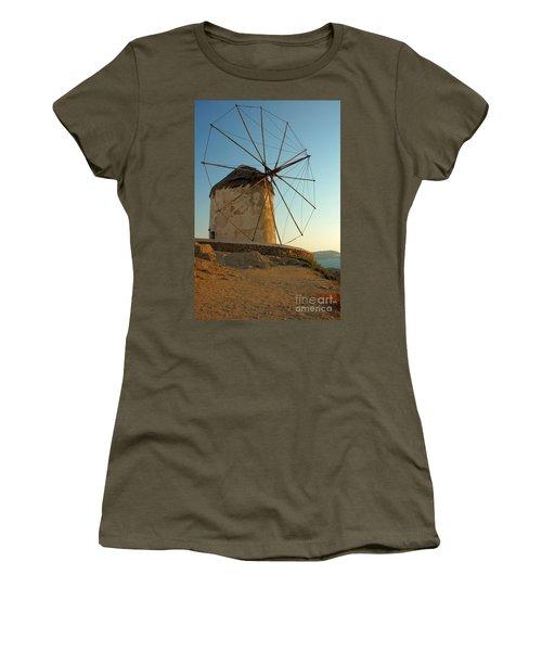 Mykonos Windmill  Women's T-Shirt (Junior Cut) by Joe  Ng