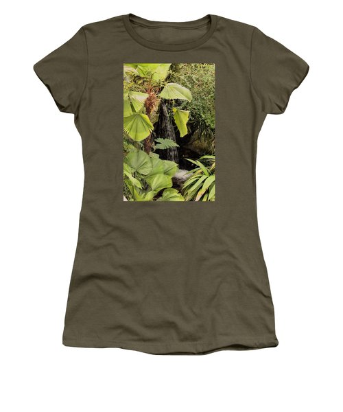 Women's T-Shirt (Athletic Fit) featuring the photograph Myriad Botanical Gardens Waterfall by Sheila Brown