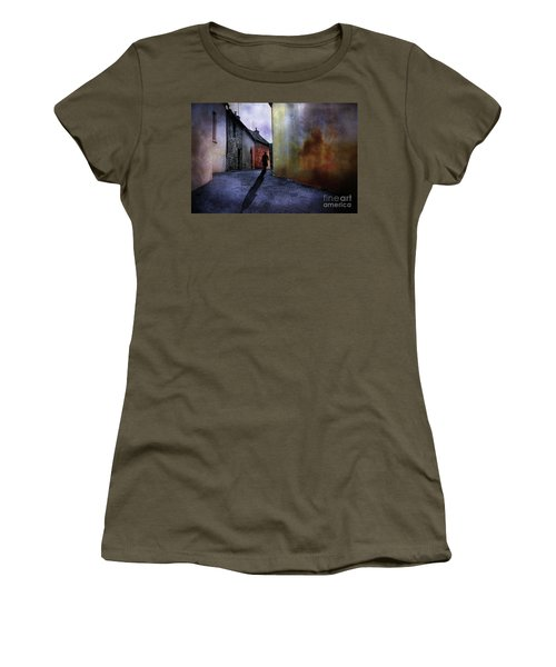 Women's T-Shirt (Junior Cut) featuring the mixed media Mystery Corner by Jim  Hatch