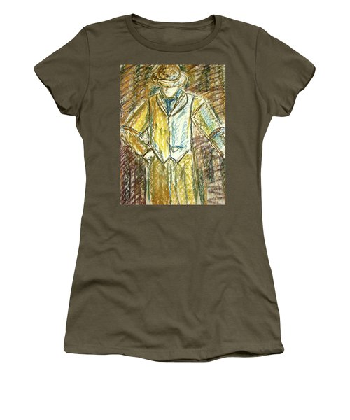 Women's T-Shirt (Junior Cut) featuring the painting Mystery Man by Cathie Richardson