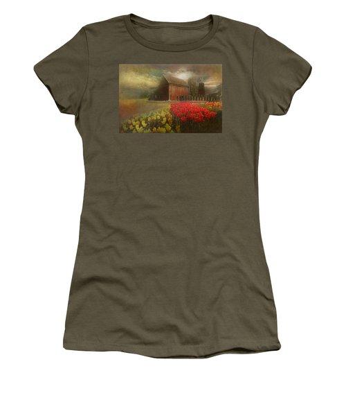 Mythical Tulip Farm Women's T-Shirt (Junior Cut) by Jeff Burgess