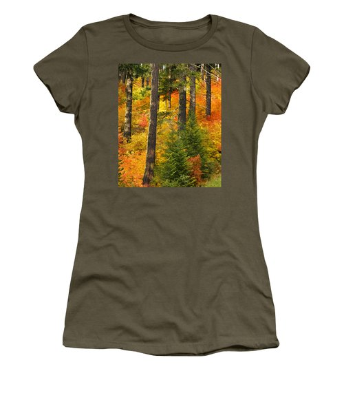 N W Autumn Women's T-Shirt (Junior Cut) by Wes and Dotty Weber
