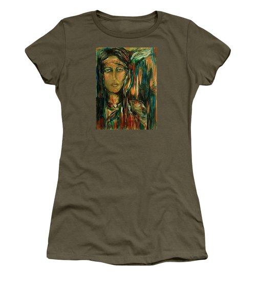 Women's T-Shirt (Junior Cut) featuring the painting Nancy Ward Beloved Woman Nanye by Dawn Fisher