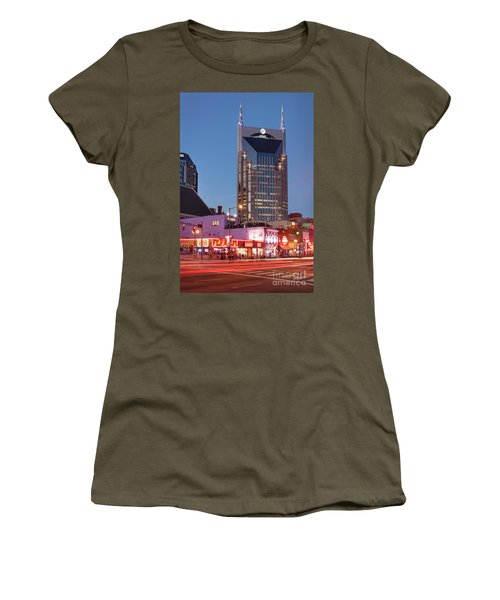 Women's T-Shirt (Junior Cut) featuring the photograph Nashville - Batman Building by Brian Jannsen