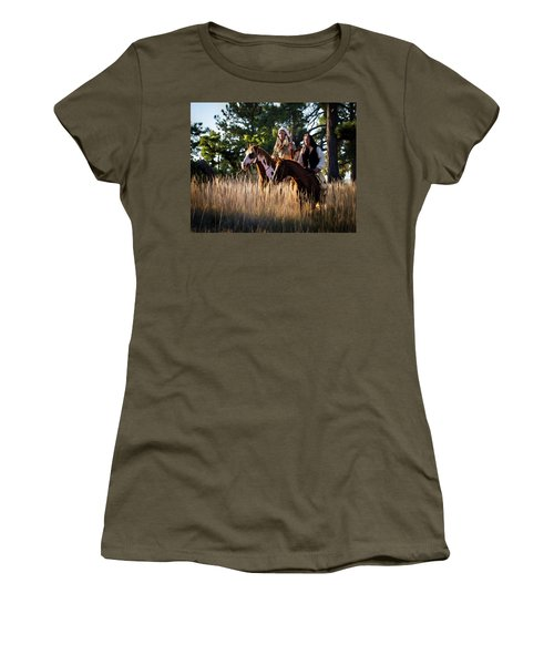 Native Americans On Horses In The Morning Light Women's T-Shirt (Junior Cut) by Nadja Rider
