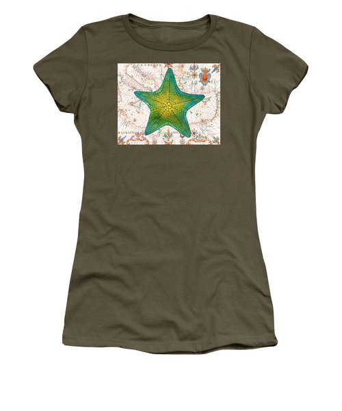 Women's T-Shirt (Junior Cut) featuring the painting Nautical Treasures-l by Jean Plout