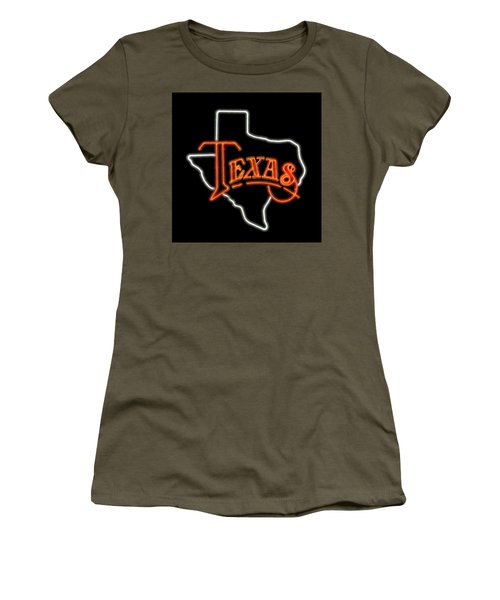 Women's T-Shirt (Junior Cut) featuring the digital art Neon Texas by Daniel Hagerman