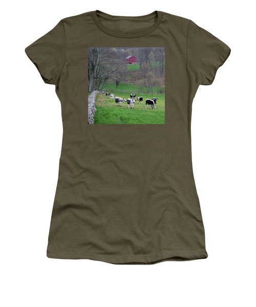 Women's T-Shirt (Junior Cut) featuring the photograph New England Spring Pasture Square by Bill Wakeley