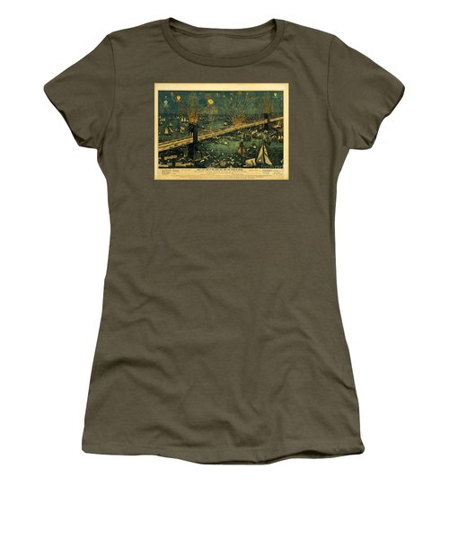 Women's T-Shirt (Junior Cut) featuring the photograph New York And Brooklyn Bridge Opening Night Fireworks by John Stephens