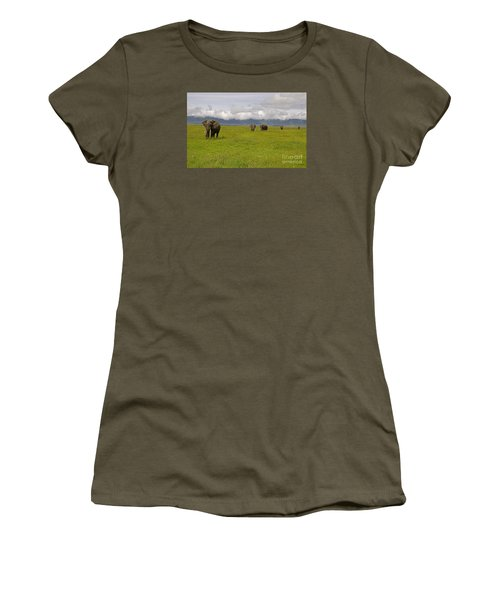 Ngorongoro Elephants-signed-#0135 Women's T-Shirt (Junior Cut) by J L Woody Wooden