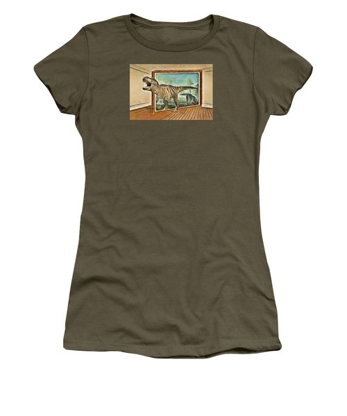 Women's T-Shirt (Junior Cut) featuring the painting Night At The Art Gallery - T Rex Escapes by Wayne Pascall