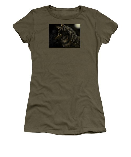 Night Silent Wolf Women's T-Shirt (Athletic Fit)