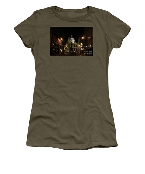 Night View Of St Pauls Cathedral  Women's T-Shirt (Athletic Fit)