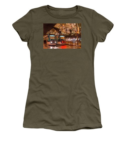 Night View Of Two Trams At Glories Station  Women's T-Shirt (Athletic Fit)