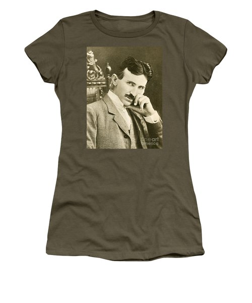 Nikola Tesla, Serbian-american Inventor Women's T-Shirt (Athletic Fit)