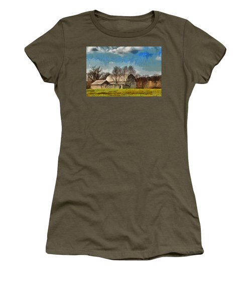 Women's T-Shirt (Junior Cut) featuring the mixed media Norman's Homestead by Trish Tritz