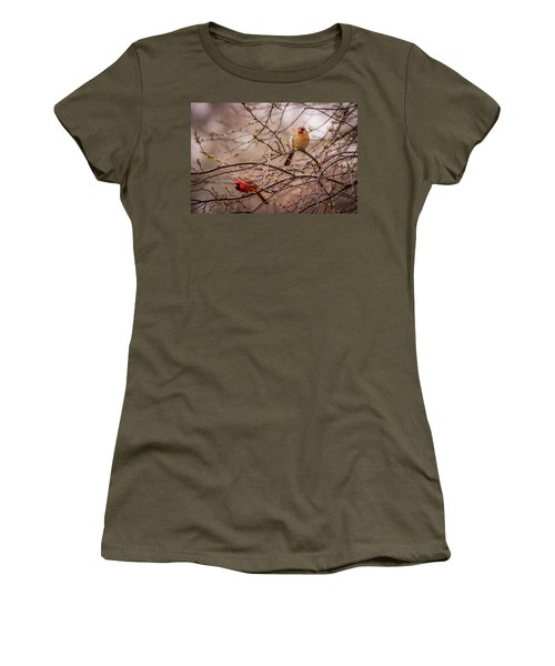 Women's T-Shirt (Junior Cut) featuring the photograph Northern Cardinal Pair In Spring by Terry DeLuco