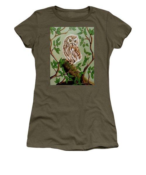 Northern Saw-whet Owl Women's T-Shirt (Junior Cut) by Teresa Wing