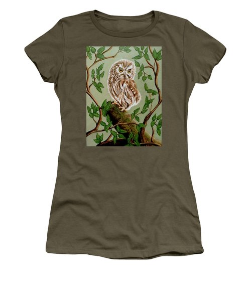 Northern Saw-whet Owl Women's T-Shirt (Junior Cut)