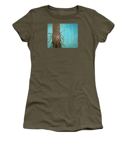 Women's T-Shirt (Junior Cut) featuring the painting Nuthatch by Edwin Alverio