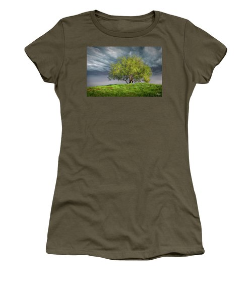 Oak Tree With Tire Swing Women's T-Shirt (Junior Cut) by Endre Balogh