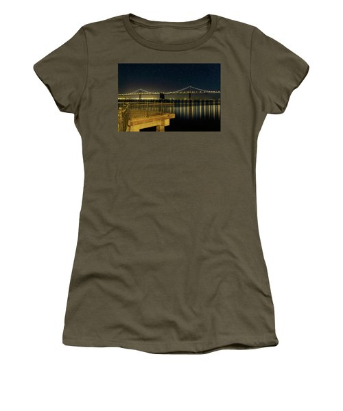 Oakland Bay Bridge By The Pier In San Francisco At Night Women's T-Shirt (Athletic Fit)