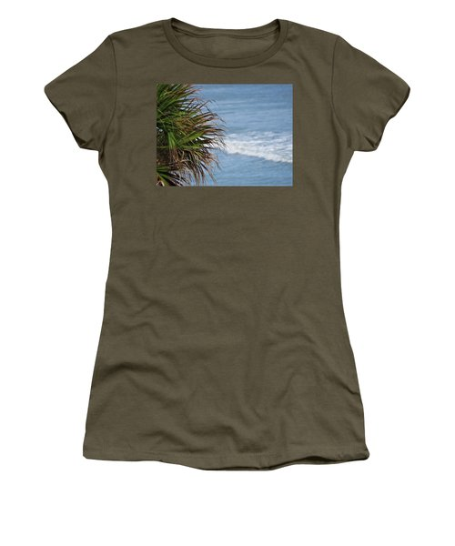 Ocean And Palm Leaves Women's T-Shirt (Junior Cut) by Kathy Long