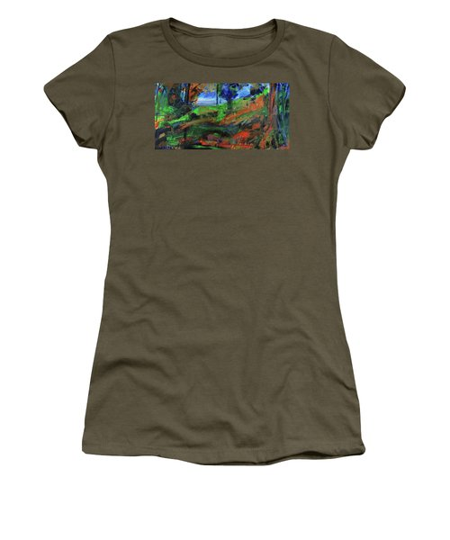 Women's T-Shirt (Athletic Fit) featuring the painting Ocean View Through The Forest by Walter Fahmy