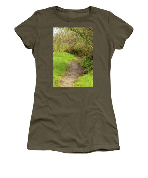 Women's T-Shirt (Junior Cut) featuring the photograph Oceano Lagoon Trail by Art Block Collections