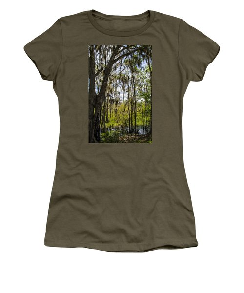 Ocklawaha Spanish Moss In The Swamp Women's T-Shirt (Junior Cut) by Deborah Smolinske
