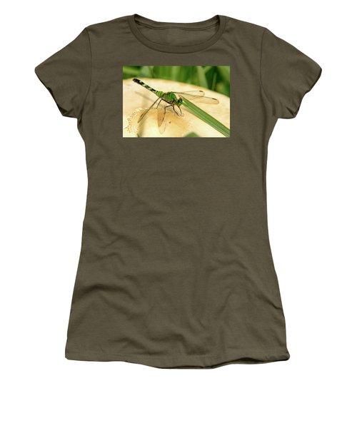 Odonate On Mushroom With Grass Blade Women's T-Shirt