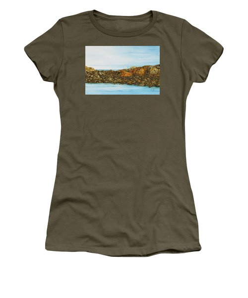 Ogunquit Maine Sail And Rocks Women's T-Shirt (Athletic Fit)