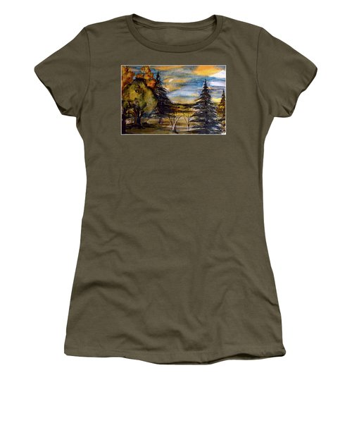 Women's T-Shirt (Junior Cut) featuring the painting Ohio Sunset by Mindy Newman