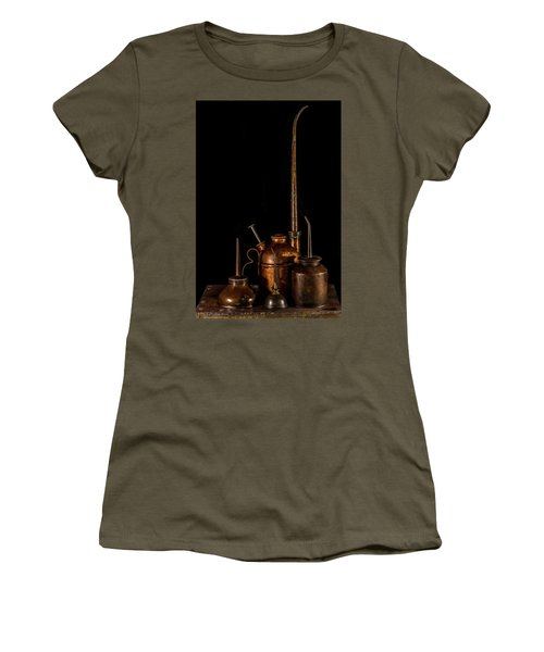 Women's T-Shirt (Junior Cut) featuring the photograph Oil Cans by Paul Freidlund