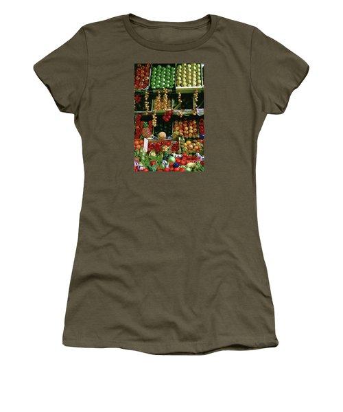 Oil Painted Faux Paris Fruit Display Women's T-Shirt (Athletic Fit)