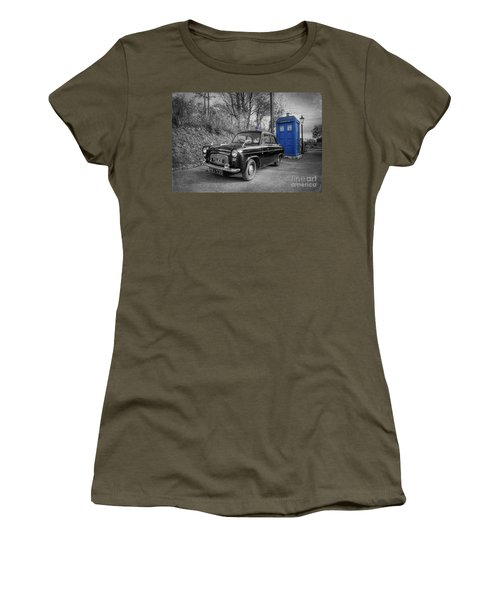 Old British Police Car And Tardis Women's T-Shirt