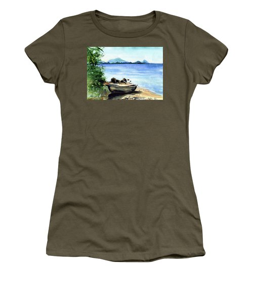 Women's T-Shirt (Athletic Fit) featuring the painting Old Carved Boat At Lake Malawi by Dora Hathazi Mendes