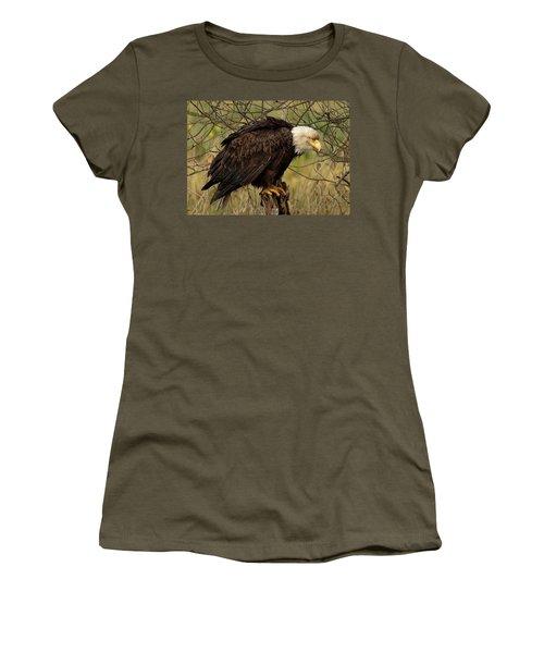 Old Eagle Women's T-Shirt (Junior Cut) by Sheldon Bilsker