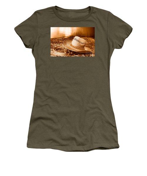 Old Farmer Hat In Hay Barn - Sepia Women's T-Shirt