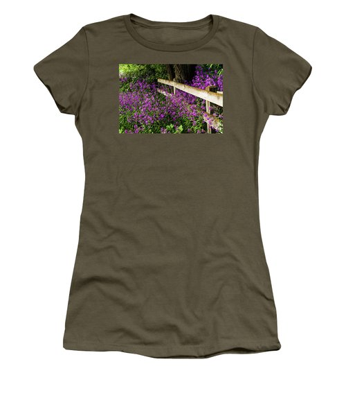 Old Fence And Purple Flowers Women's T-Shirt