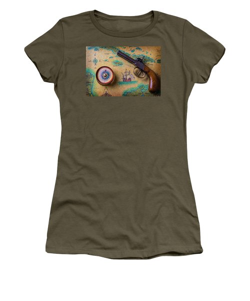 Old Gun And Compass On Map Women's T-Shirt