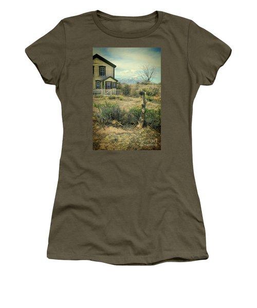 Women's T-Shirt (Junior Cut) featuring the photograph Old House Near Mountians by Jill Battaglia