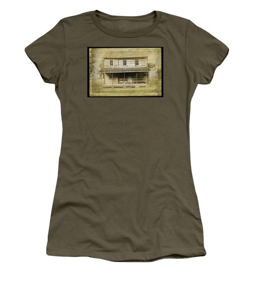 Women's T-Shirt (Athletic Fit) featuring the photograph Old Log Cabin by Joan Reese