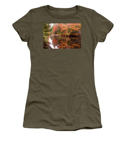 Women's T-Shirt (Athletic Fit) featuring the photograph Old Main Road Stream by Jeff Folger